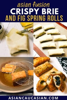 Crispy, golden spring rolls filled with brie and fig on a long white serving platter.