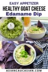 Goat cheese edamame dip in a small white bowl with edamame pods and blue corn tortilla chips on the side.
