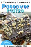 a stack of chocolate covered matzo topped with walnuts
