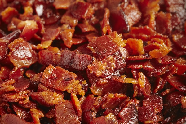 closeup of bits of chopped cooked bacon