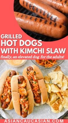 Three hot dogs in buns topped with kimchi slaw with potato chips, extra slaw and aioli on the side.