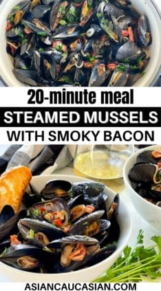 Two white bowls filled with steamed mussels and crusty bread on a white board, with a glass of white wine and green herbs on the side.