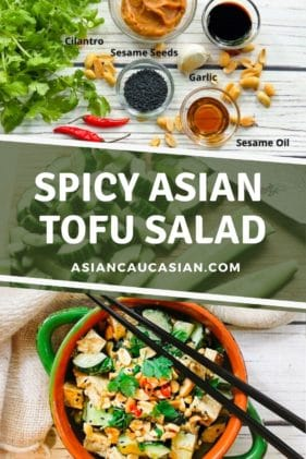 A green bowl filled with a vibrant spicy tofu salad with cucumbers, cilantro and peanuts, and black chopsticks on top.