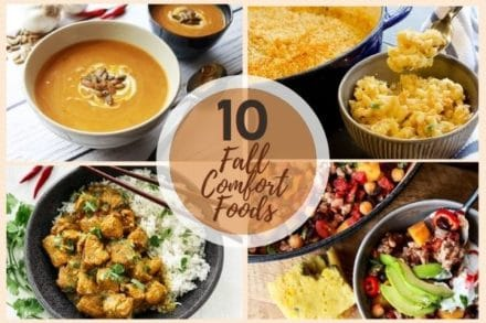 A collage of fall comfort foods, 10 fall comfort foods roundup image