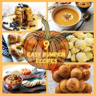 A roundup collage of easy pumpkin recipes including soup, cookies, pancakes, muffins, and dips.