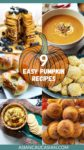 A roundup image of 6 sweet and savory pumpkin recipes for fall including cookies, soup, and pancakes.