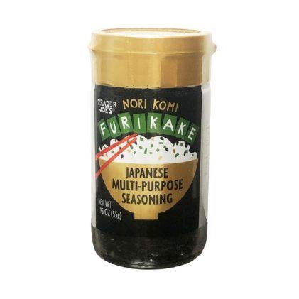 A jar of Trader Joe's Japanese Furitake seasoning on a white background.