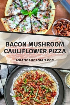 A sliced and unsliced cauliflower pizza pie topped with crispy bacon, shiitake mushrooms, basil, and melty cheese, with a pizza cutter on top of a wooden board.